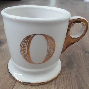 Anthropologie Gold O Monogram Mug